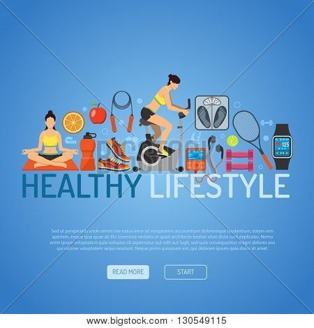 Healthy Lifestyle Concept for Mobile Applications, Web Site, Advertising with Exercise Bike, Yoga, Scales and Gadgets Flat Icons.