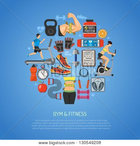 Fitness and Gym Concept for Mobile Applications, Web Site, Advertising like Waist, Exercise Bike Dambbells and Scales.