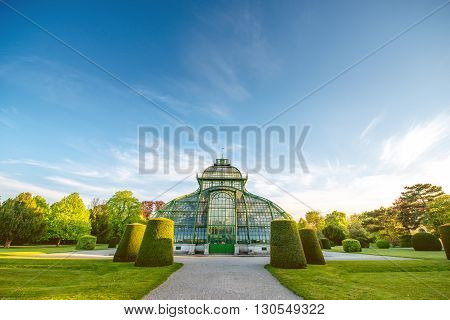 VIENNA, AUSTRIA - CIRCA APRIL 2016: Palmenhaus in Schonbrunn gardens in Vienna. This greenhouse is the largest botanical exhibits of its kind in the world