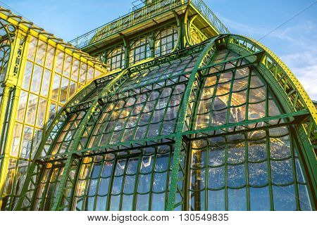 VIENNA, AUSTRIA - CIRCA APRIL 2016: Arcgitectural fragment of Palmenhaus in Schonbrunn gardens in Vienna. This greenhouse is the largest botanical exhibits of its kind in the world