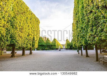 VIENNA, AUSTRIA - CIRCA APRIL 2016: Beautiful alley in Schonbrunn gardens in Vienna. Schonbrunn gardens are one of the most important architectural and historical places in Austria