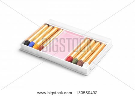 body paint crayons set isolated on white