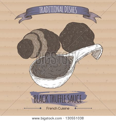 Color black truffle sauce sketch placed on cardboard background. French cuisine. Traditional dishes series. Great for restaurant, cafe, grocery stores, organic shops, food label design.