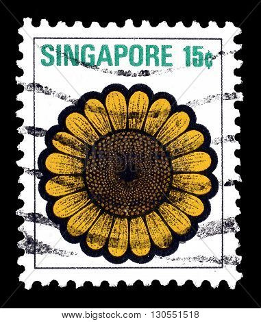SINGAPORE - CIRCA 1973 : Cancelled postage stamp printed by Singapore, that shows Sunflower.