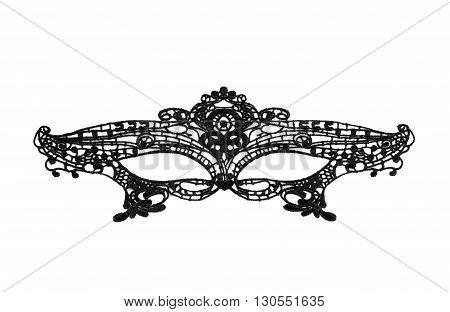 Black carnival mask on a white background