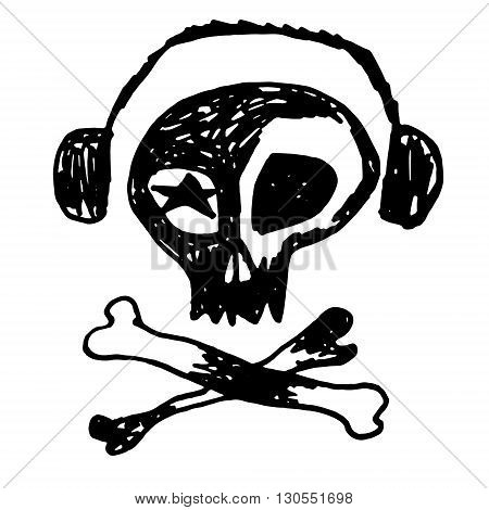 Rock-n-roll skull with earphones and bones. Hand drawn