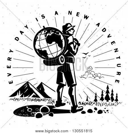 Travel emblem. Vector illustration
