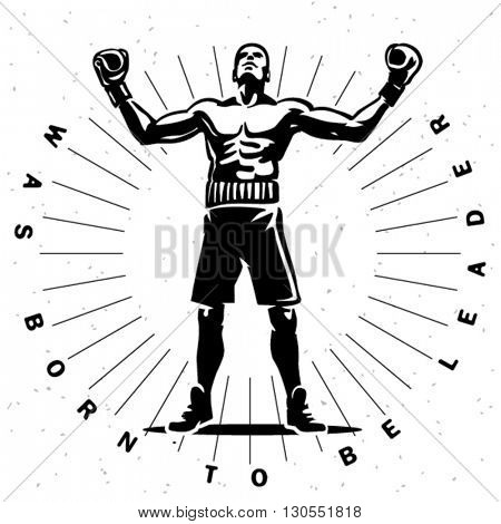 Boxing champion.  Sport illustration. Engraving style