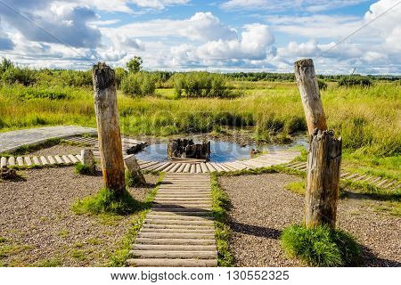 Wellspring source old salt well in Solikamsk. Russia