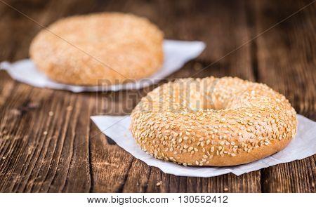 Sesame Bagels On Wooden Background