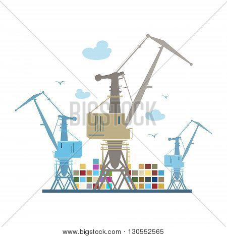 Cargo Cranes and Containers Crane at the Port Isolated on White, Containers and Cranes at the Dock, International Freight Transportation, Vector Illustration