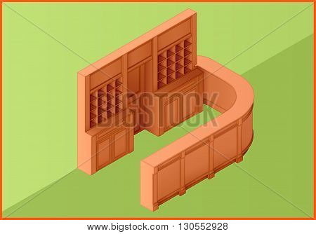Reception hotel table flat isometric perspective view vector 3d illustration