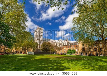 Architecture of Westminster Abbey in London, UK