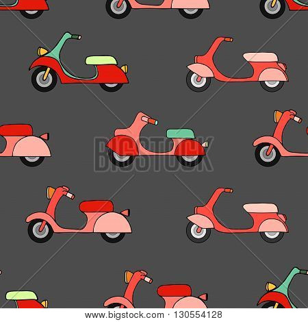 Seamless texture with color scooters. Vector illustration