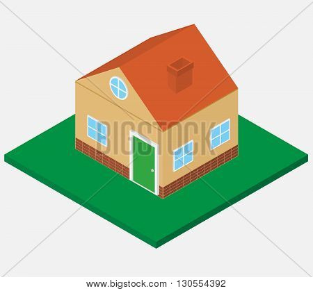 isometric home.isometric building on the green grass