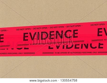 Illustration of red evidence tapes on cardboard picture