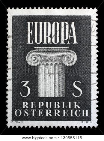 ZAGREB, CROATIA - SEPTEMBER 09: a stamp printed in the Austria shows Ionic Capital, Idea of a United Europe, circa 1960, on September 09, 2014, Zagreb, Croatia
