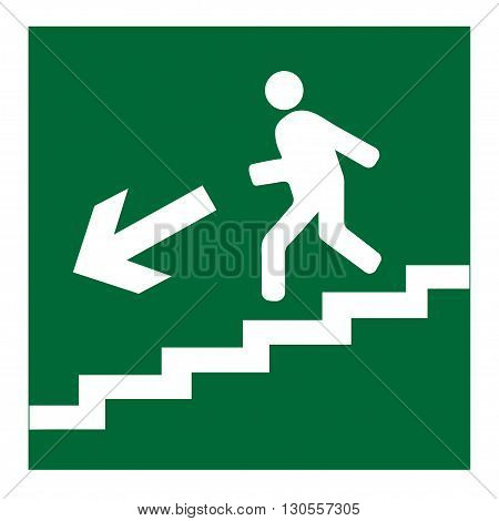 Man on Stairs going down symbol on white background