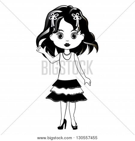 Beautiful romantic girl on white background. Vector image.