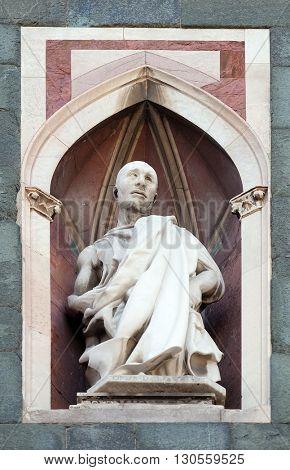 FLORENCE, ITALY - JUNE 05: Saint, Campanile (Bell Tower) of Cattedrale di Santa Maria del Fiore (Cathedral of Saint Mary of the Flower), Florence, Italy on June 05, 2015