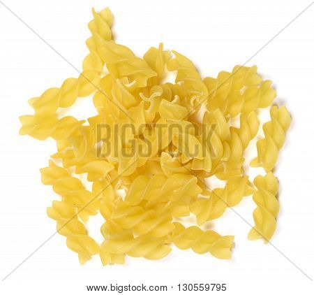 Fusilli pasta or spiral noodles, isolated on white background.
