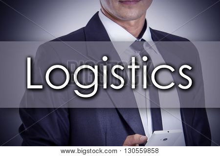 Logistics - Young Businessman With Text - Business Concept
