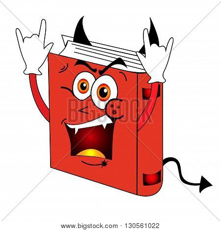 Funny, evil, fantasy, red book on white background.
