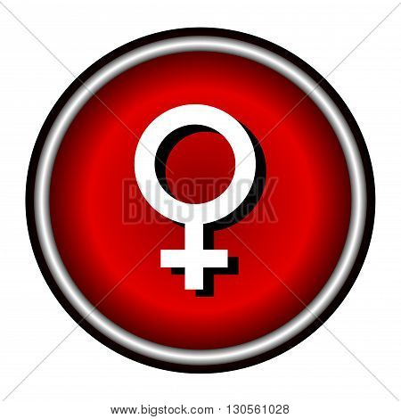 Woman Icon Vector, red round button isolated on white background
