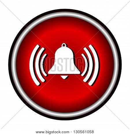 Ringing bell flat icon on white background