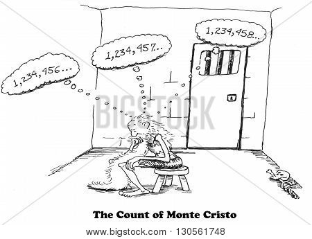 Cartoon about being bored in a jail cell.