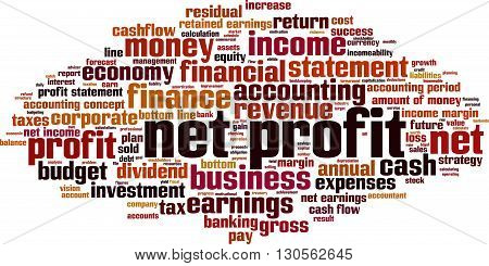 Net profit word cloud concept. Vector illustration