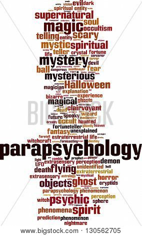 Parapsychology word cloud concept. Vector illustration on white