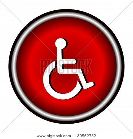 Disabled Handicap Icon in red circle on white background