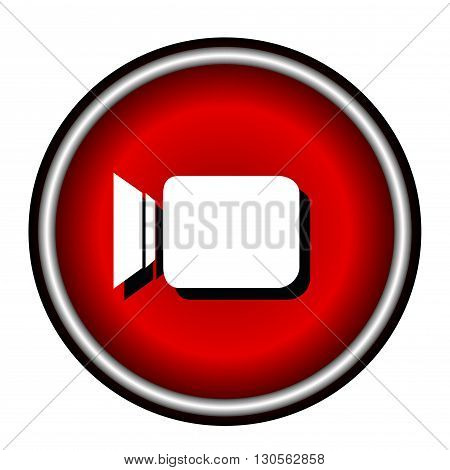 Video camera Icon, red round button isolated on white background, web design illustration