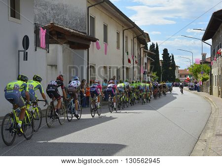 Moimacco Italy - May 20th 2016. The 2016 Giro d'Italia passes through the village of Moimacco in Friuli Venezia Giulia for the first time in 40 years. This is stage 13 (Palmanova-Cividale del Friuli).