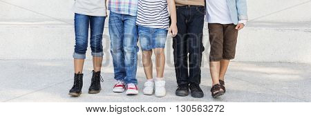 Fashionable Stylish Kids Friends Togetherness Concept