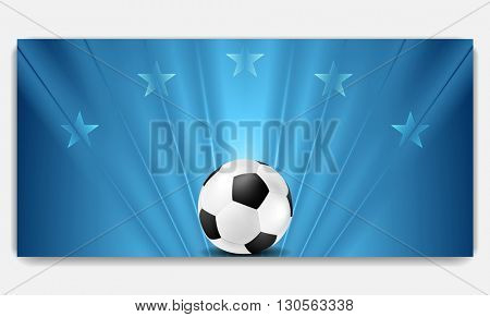 Blue soccer sport background with ball. Game ball on blue soccer backdrop. Football design with beams and stars. Ball element. Football soccer banner