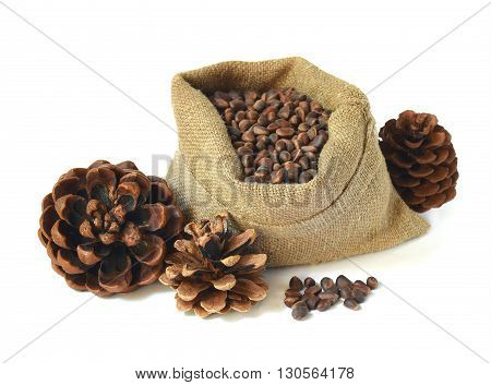 bag of pine nuts and cones isolated on white background. Alternative medicine. Natural medicines and vitamins.