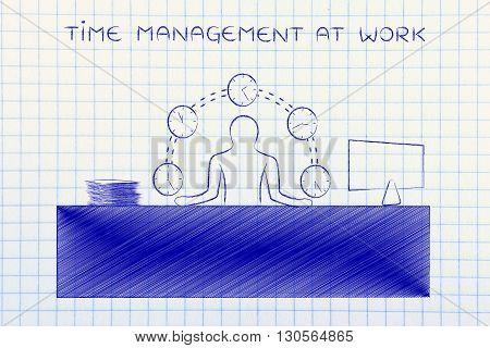Business Man Juggling Time (clocks), Time Management At Work
