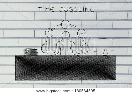 Business Man Juggling Time (clocks) At The Office, Time Juggling