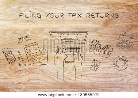 User Filing His Income Tax Data Online, Filing Your Tax Returns