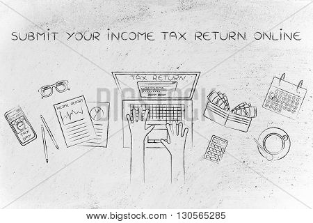 User Filing His Income Tax Data Online, Submit Your Income Tax Return Online