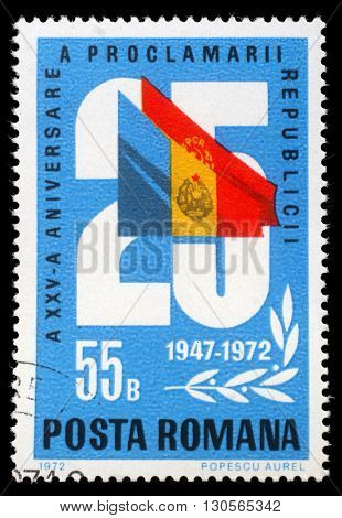 ZAGREB, CROATIA - JULY 19: stamp printed by Romania, shows 25 and flags, 25 anniversary of the republic issue, circa 1972, on July 19, 2012, Zagreb, Croatia