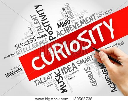 Curiosity word cloud business concept, presentation background