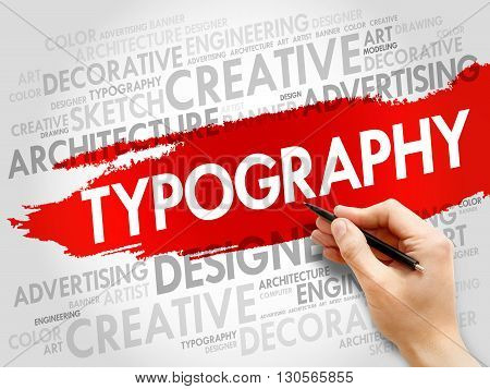 TYPOGRAPHY word cloud business concept, presentation background