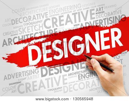 DESIGNER word cloud collage concept, presentation background