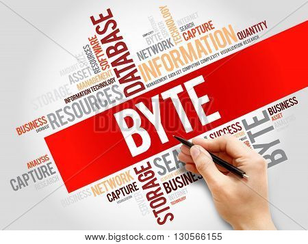 Byte word cloud business concept, presentation background