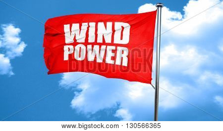 wind power, 3D rendering, a red waving flag