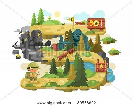 Adventure on a forest trail flat design. Outdoor nature travel and summer tourism, vector illustration