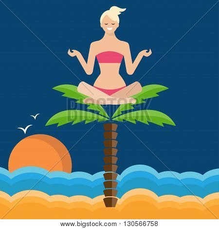 Conceptual Illustration Of A Girl In Lotus Position, Sitting On A Palm Tree.on The Sea. Vector